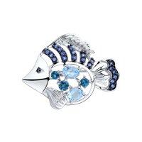Брошь из серебра с голубыми и синими топазами и фианитами