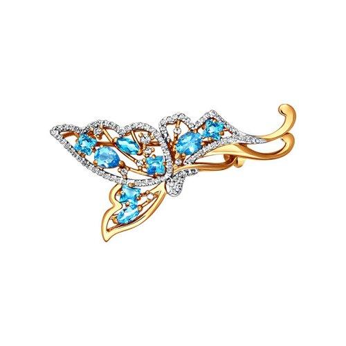 Брошь - бабочка с голубыми топазами SOKOLOV