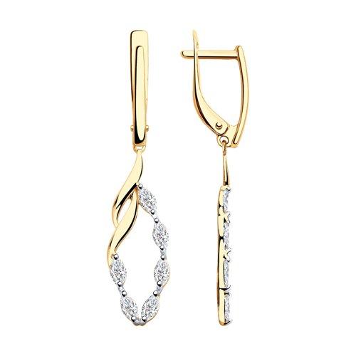 Серьги из золота с фианитами (028190) - фото