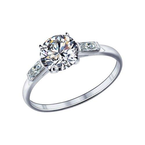 Помолвочное кольцо из серебра с фианитами (89010006) - фото