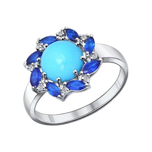Кольцо из серебра с бирюзой и синими фианитами