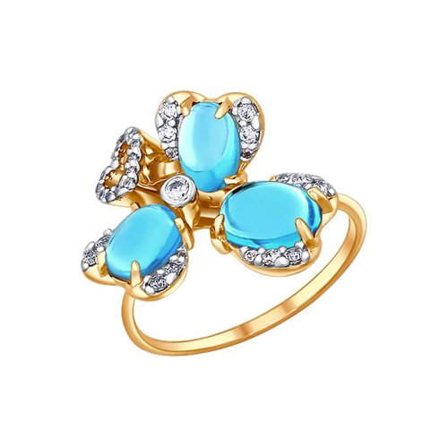 Изысканное золотое кольцо с топазами SOKOLOV золотое кольцо ювелирное изделие 01k663088