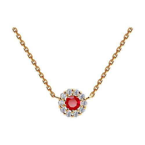 Колье из золота с красным корундом (синт.) и фианитами (770167) - фото