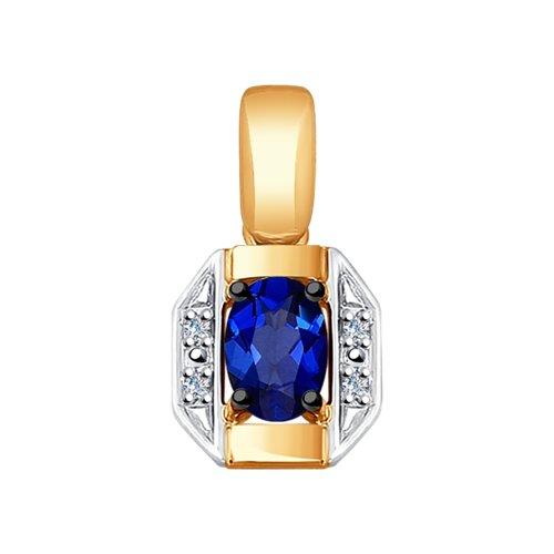Подвеска из золота с бриллиантами и синим корунд (синт.) 6032058 SOKOLOV фото