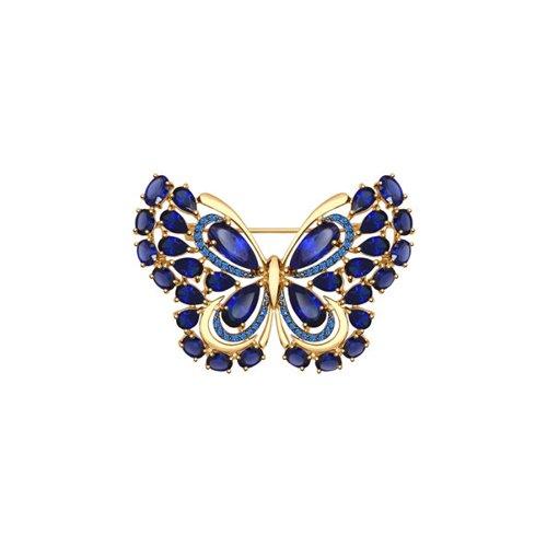 Брошь «Бабочка»  с корундами