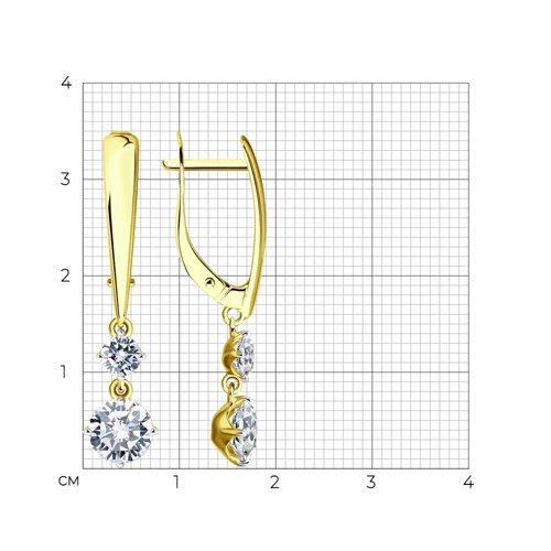 Серьги из желтого золота с фианитами (027003-2) - фото №2