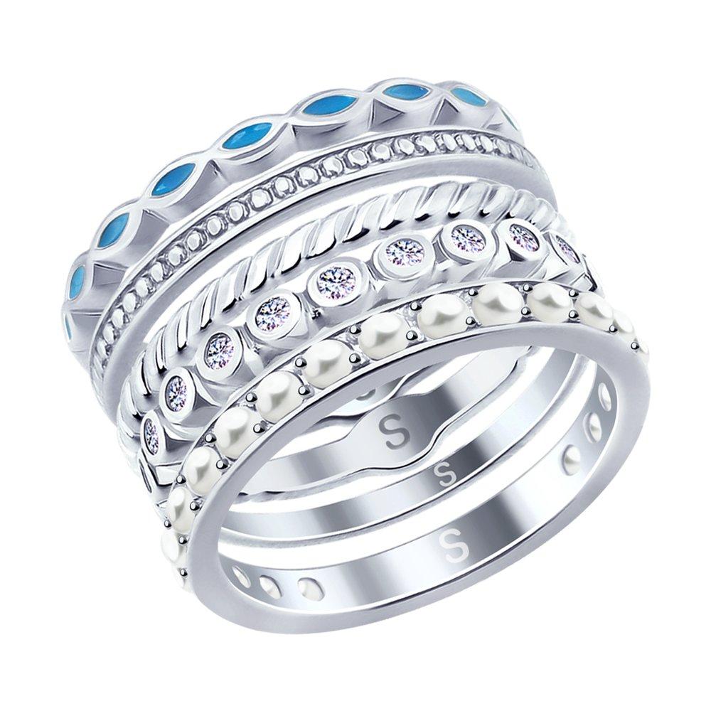 Наборное серебряное кольцо SOKOLOV