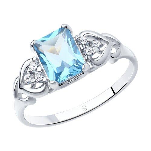 Кольцо из серебра с топазом и фианитами (92011503) - фото