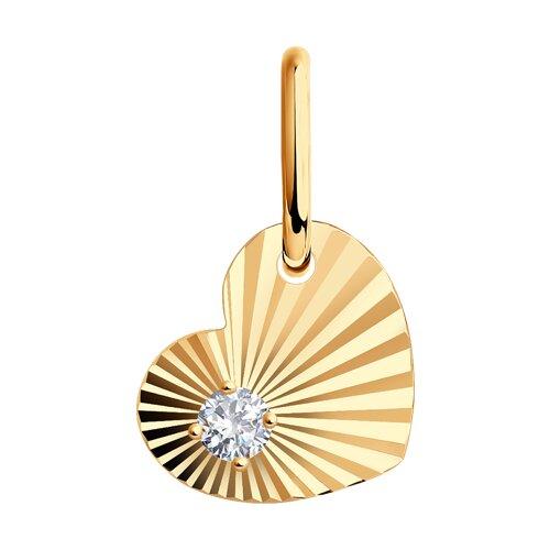 Подвеска из золота с алмазной гранью с фианитом (031475) - фото