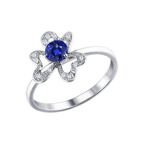 Кольцо цветок с бриллиантами и сапфиром SOKOLOV