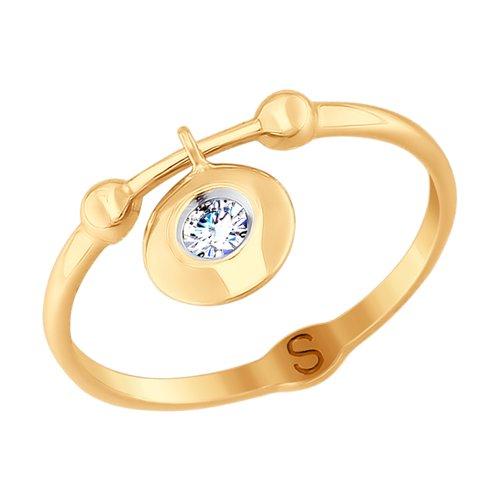 Кольцо из золота с фианитом (017705) - фото