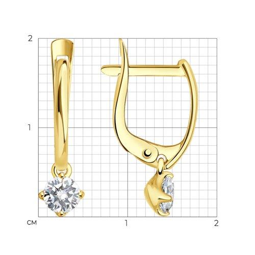 Серьги из желтого золота с фианитами (027396-2) - фото №2