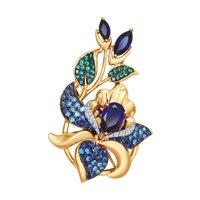 Подвеска из золота с синими корунд (синт.) и бесцветными, голубыми, зелеными и синими фианитами