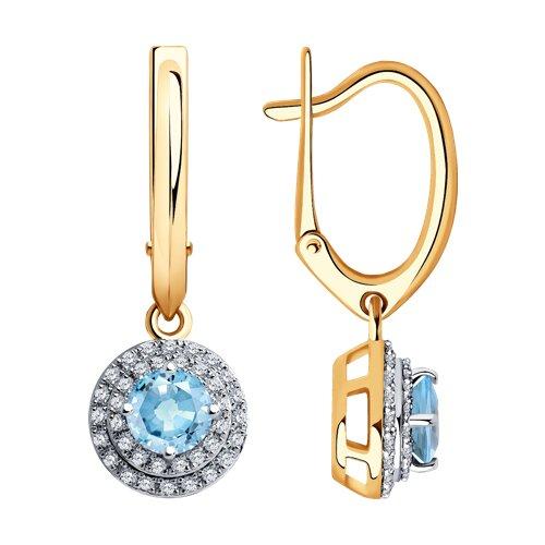 Серьги из золота с бриллиантами и аквамаринами 6024149 SOKOLOV фото