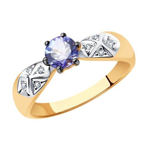 Кольцо из золота с бриллиантами и танзанитом (6014051) - фото