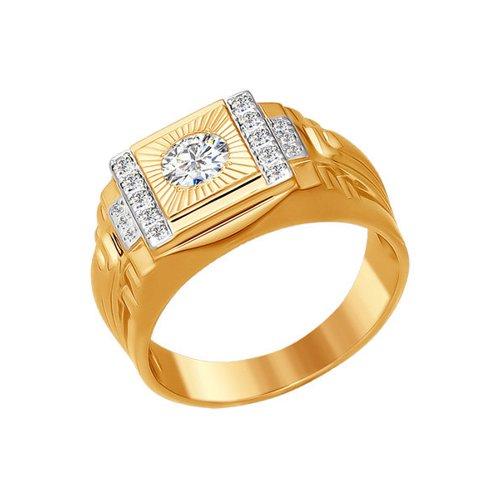 Печатка из золота с алмазной гранью с фианитами (014820) - фото