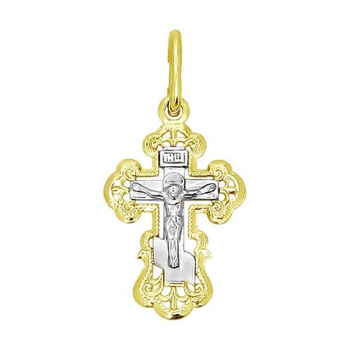Подвеска- крест из комбинированного золота 120092-2 sokolov фото