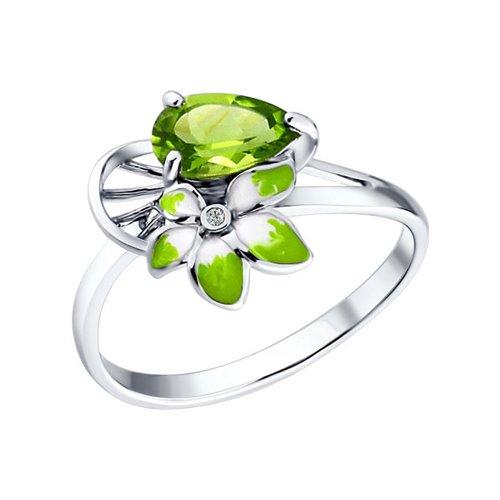 Фото - Серебряное кольцо с эмалью и хризолитами SOKOLOV серебряное кольцо с сердечками sokolov