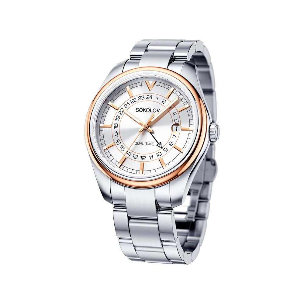 цена Мужские часы SOKOLOV из золота и стали онлайн в 2017 году