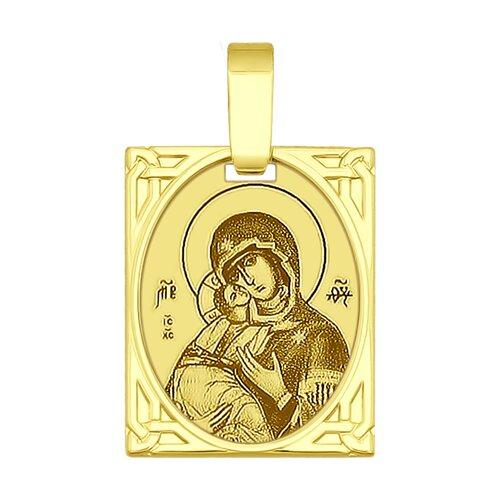 Золотая иконка «Икона Божьей Матери Владимирская» (102227-2) - фото