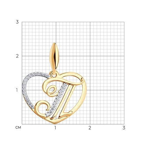 Подвеска-буква «Т» из золота