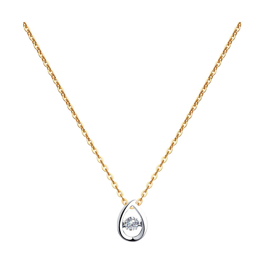 Колье SOKOLOV из комбинированного золота с бриллиантом фото