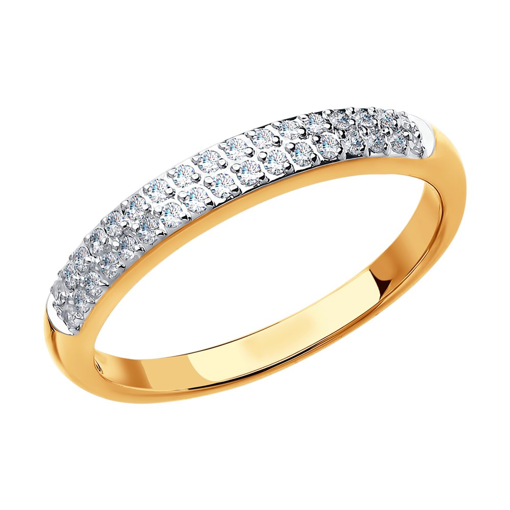 Кольцо SOKOLOV из золота 585 пробы с бриллиантовой дорожкой фото