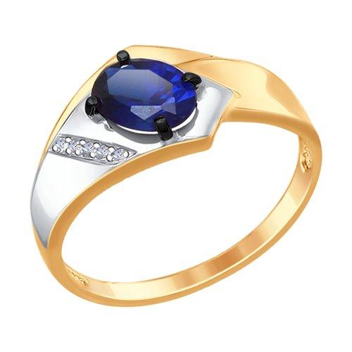 Кольцо из золота с бриллиантами и синим корундом (синт.) (6012088) - фото