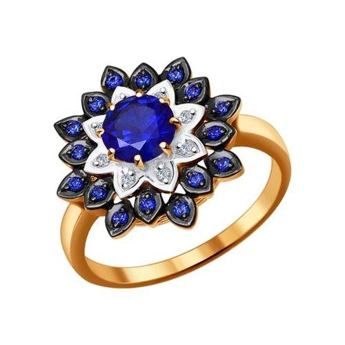 Кольцо из золота с бриллиантами и корундами сапфировыми (синт.) (6012051) - фото