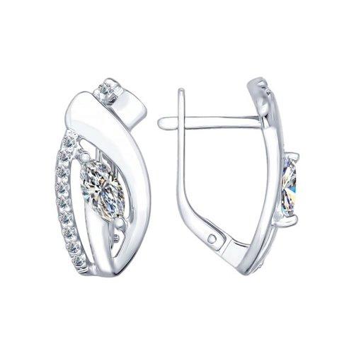 Серьги из серебра с фианитами (94022249) - фото