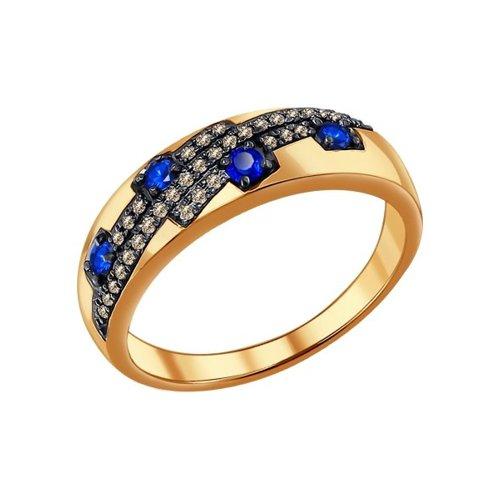 Кольцо из золота с коньячными бриллиантами и сапфирами (2010973) - фото