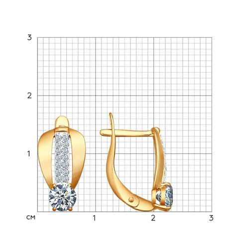 Серьги из золочёного серебра с фианитами (93020600) - фото №2