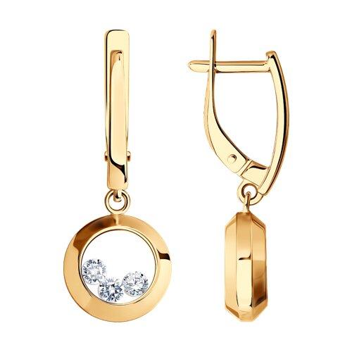 Золотые серьги с танцующими фианитами (027536) - фото