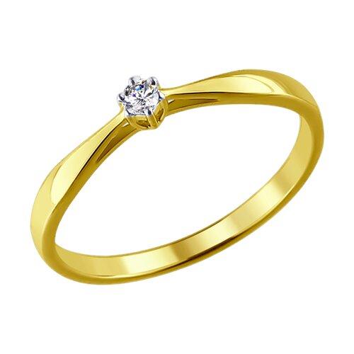 Кольцо из желтого золота с бриллиантом 1011345-2 SOKOLOV фото