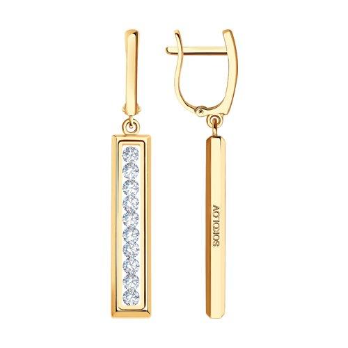 Серьги из золота со Сваровски и минеральным стеклом