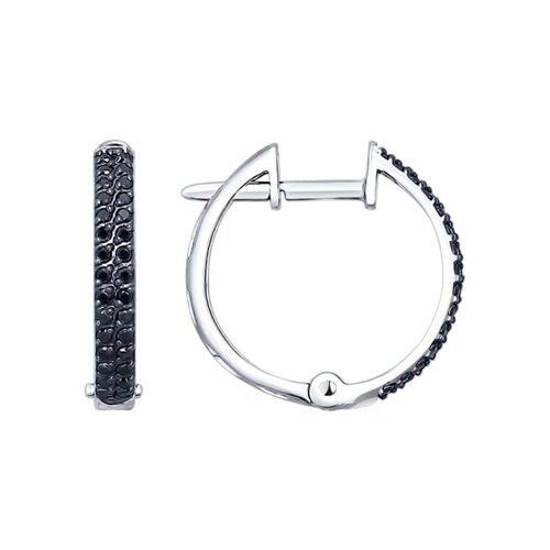 Серьги кольца с чёрными бриллиантами SOKOLOV