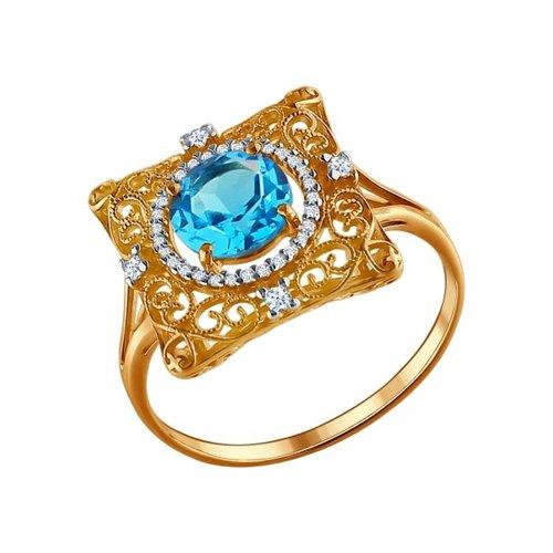 Коктейльное кольцо с топазом и фианитами SOKOLOV