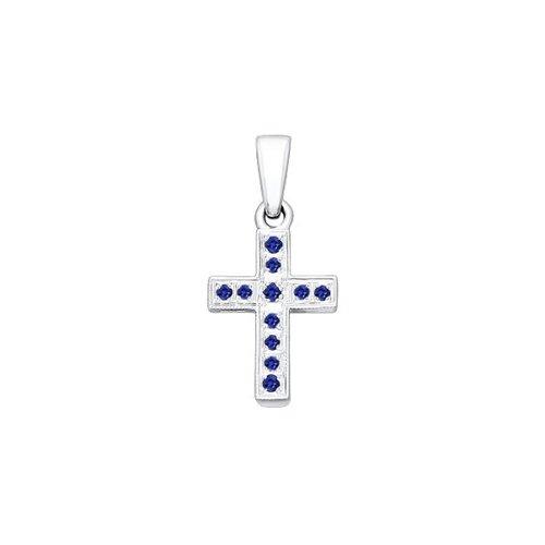 Крест из белого золота с сапфирами