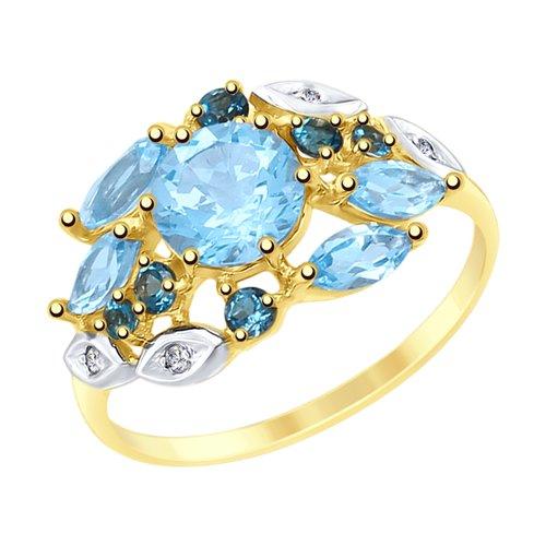 Кольцо из желтого золота с голубыми и синими топазами и фианитами (715086-2) - фото