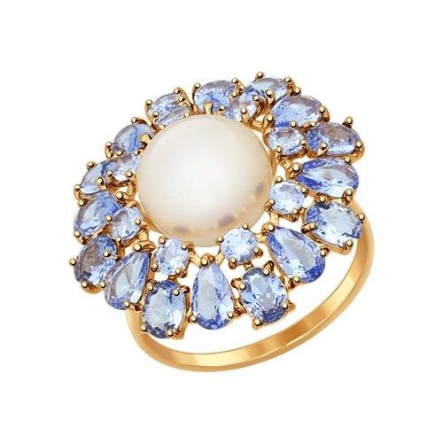 Кольцо из золота с ситаллами и жемчугом