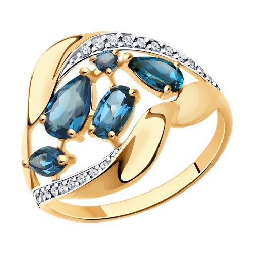 Кольцо из золота с синими топазами и фианитами (37714729) - фото