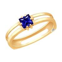 Кольцо из золота с бриллиантом и синим корундом (синт.)