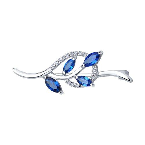 Брошь из серебра с синими фианитами (94040069) - фото