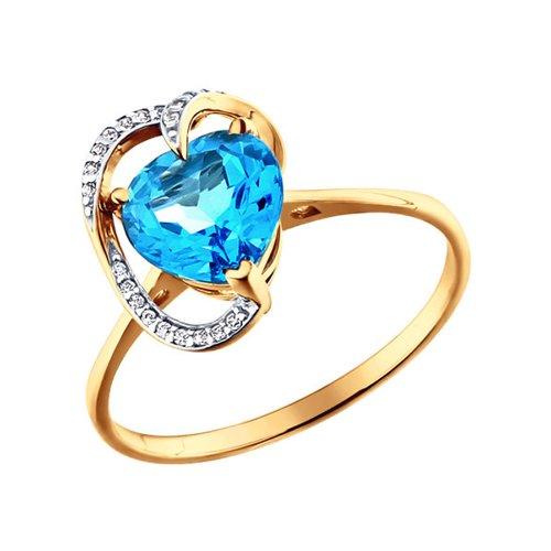 Золотое кольцо с сердцевидным голубым топазом и фианитами SOKOLOV золотое кольцо ювелирное изделие k 11013