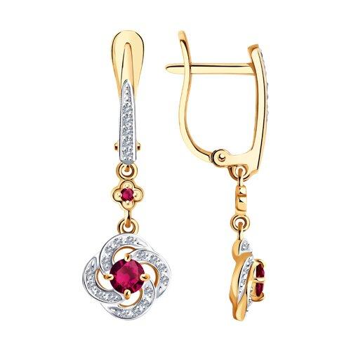 Серьги из золота с бриллиантами и рубинами (4020419) - фото
