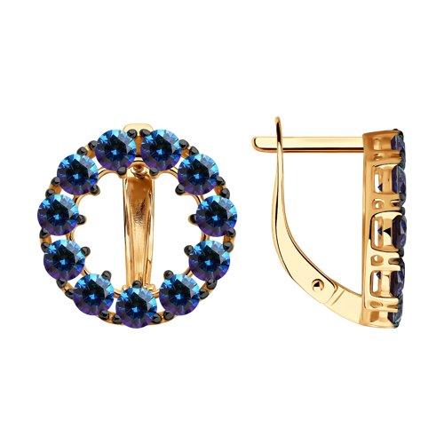 Серьги из золота с синими Сваровски