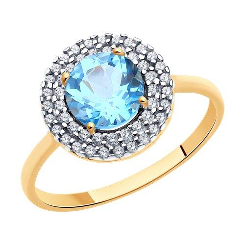 Кольцо из золота с топазом и фианитами (37714972) - фото