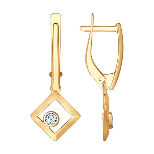 Серьги из золота с фианитами (027991) - фото