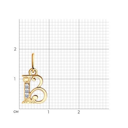 Кулон-буква «В» с фианитами (033813) - фото №2