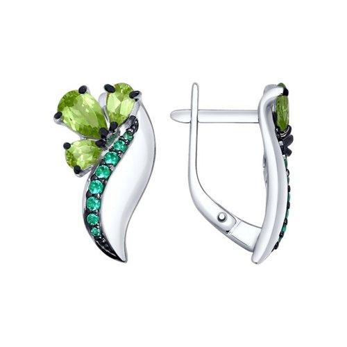 Серьги из серебра с хризолитами и зелеными фианитами